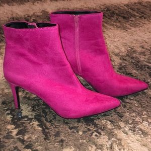 Hot pink heeled ankle booties